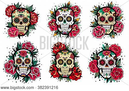 Mexican Skull Old School Roses Set. Mexican Skulls Set. Vector Illustration. Dia De Los Muertos Shug