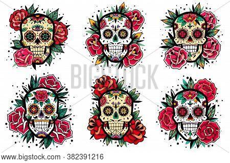 Mexican Skull Old School Roses Set. Mexican Skulls Set. Vector Illustration. Dia De Los Muertos Shug