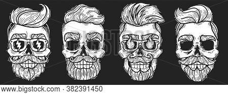 Hipster Hairstyles Skulls Set. Barber Shop Hipster Skulls Set. Vector Illustration Chalk Board. Hips