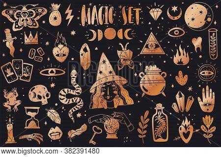 Magic Icons Doodles Golden Collection. Magic Icons Doodles Golden Collection. Hand Drawn, Doodle, Sk