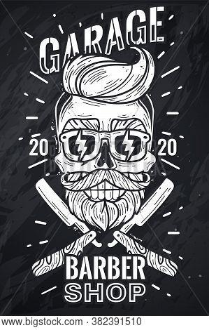 Hipster Skull Poster. Barber Shop Hipster Skull Poster. Vector Illustration Chalk Board. Hipster Hea