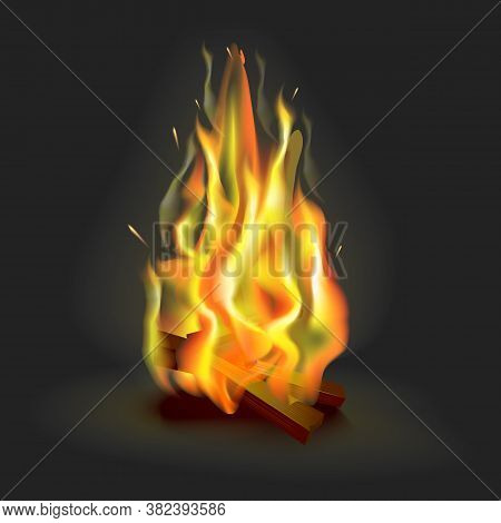 Realistic 3d Detailed Burning Fire Flame On A Background Symbol Of Blaze Bonfire. Vector Illustratio