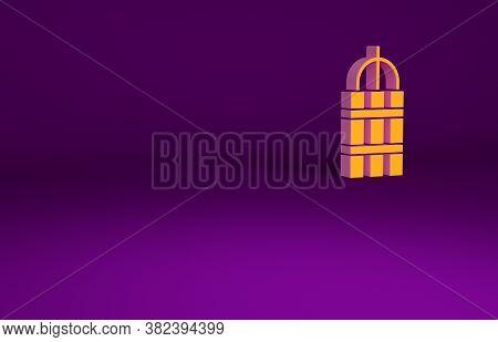 Orange Detonate Dynamite Bomb Stick And Timer Clock Icon Isolated On Purple Background. Time Bomb -