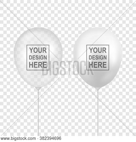 Vector Realistic White, Transparent Balloon Set Closeup Isolated On Transparent Background. Design T