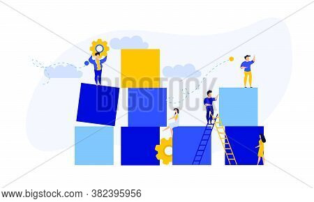 Advertising Puzzle From Cube Block Vector Flat Illustration. Analytics Chart Business Job People Tea
