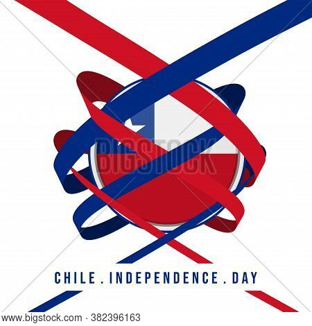 Ribbon Around The Chile Round Flag. Good Template For Chile Independence Day Design.