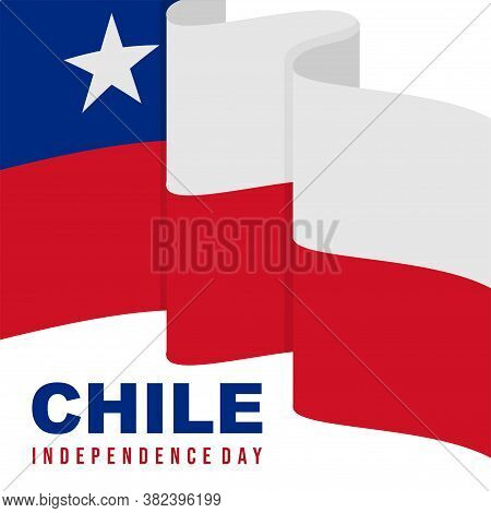 Raising Chile Flag Design. Good Template For Chile Independence Day Design.