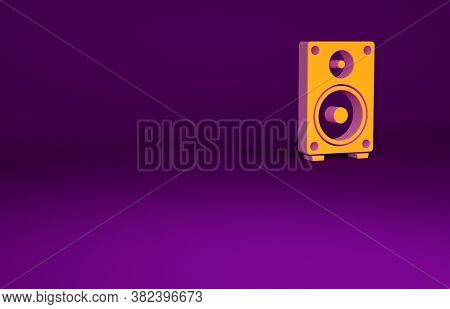 Orange Stereo Speaker Icon Isolated On Purple Background. Sound System Speakers. Music Icon. Musical