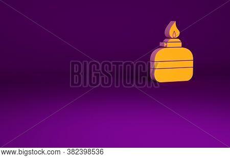 Orange Alcohol Or Spirit Burner Icon Isolated On Purple Background. Chemical Equipment. Minimalism C