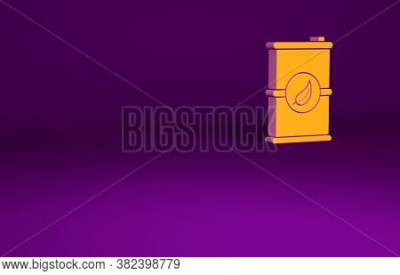 Orange Bio Fuel Barrel Icon Isolated On Purple Background. Eco Bio And Canister. Green Environment A