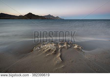 Sunset Landscape On Los Genoveses Beach. Natural Park Of Cabo De Gata. Spain.