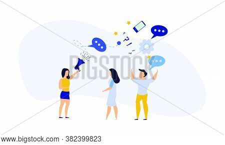 People Announce Advertising With Megaphone Vector Illustration. Awareness Focus Loud Speaker Man And