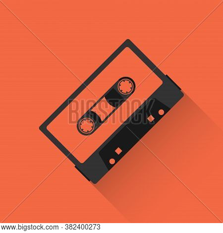 Audio Cassette, Audio Cassette Icon On Red Background With Shadow. Vector Illustration. Vector.
