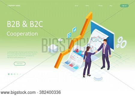 Isometric Business To Business Marketing, B2b Solution, Business Marketing Concept. Two Business Par