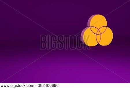 Orange Rgb And Cmyk Color Mixing Icon Isolated On Purple Background. Minimalism Concept. 3d Illustra