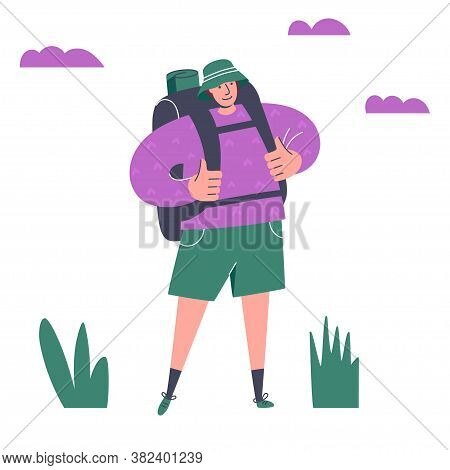 Adventurous Young Man With Backpack. Happy Traveller. Summer Vacation, Outdoor Recreation, Adventure