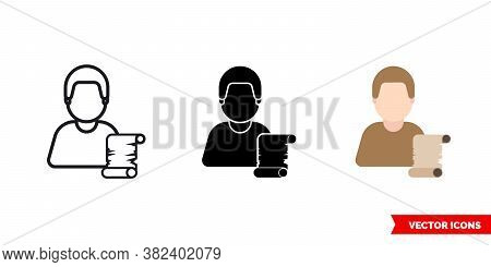 Historian Icon Of 3 Types Color, Black And White, Outline. Isolated Vector Sign Symbol.