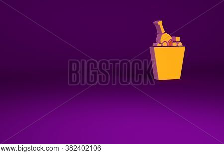 Orange Bottle Of Champagne In An Ice Bucket Icon Isolated On Purple Background. Minimalism Concept.