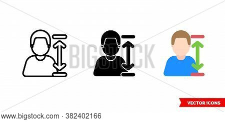 Humans Height Icon Of 3 Types Color, Black And White, Outline. Isolated Vector Sign Symbol.