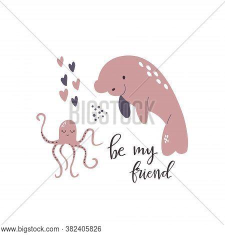 Sweet Design With Cute Manatee And Octopus. Nursery Art Print
