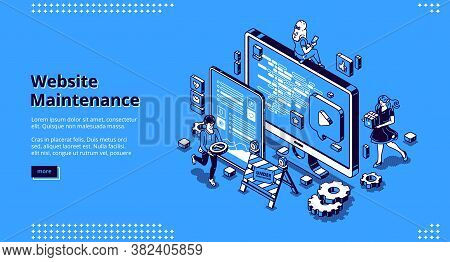 Website Maintenance Banner. Concept Of Update Internet Software, Development And Management Webpages