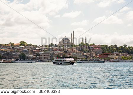 Panoramic Shot Of The Old Town Istanbul; The Magnificent Suleymaniye Mosque In The Fatih District At