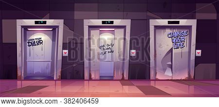 Old Dirty Hallway With Open And Closed Elevator Doors. Vector Cartoon Illustration Of Empty Lobby In