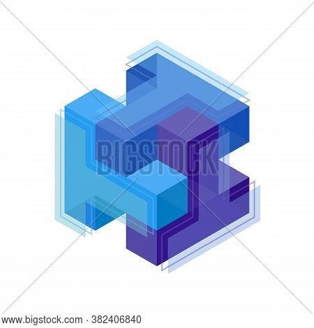 Three Letters T Woven Into A Cube Logo Symbol. Cubes Lined Up In Space. Constructive From Cubic Form