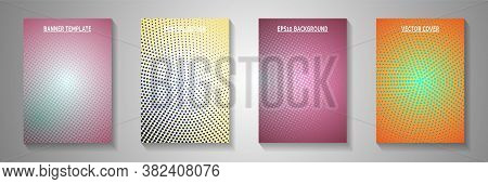Creative Circle Perforated Halftone Front Page Templates Vector Collection. Medical Catalog Faded Ha