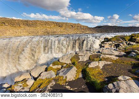 Amazing Iceland Landscape At Dettifoss Waterfall In Northeast Iceland Region. Dettifoss Is A Waterfa