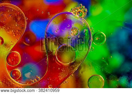 Abstract Colorful Bubbles. Mixing Water And Oil. Unrealistic Colored Bubbles, Different Color Filter