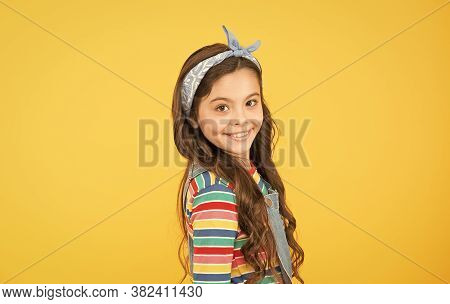 Cute Baby Headscarf Bow. Adorable Little Girl Perfect Curly Long Hair. Shampoo Hair And Conditioner.