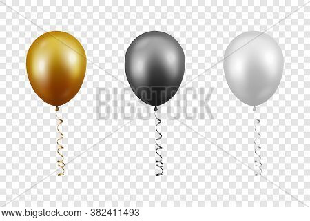 Vector 3d Realistic Metallic Golden, Black, White Balloon With Ribbon Set Closeup Isolated On Transp
