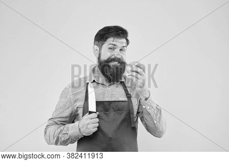 Chef Prepares Meal. Bearded Man Prepare Tomato. Fresh Salad Recipe. Mature Man Hold Knife And Vegeta