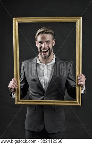 Style Icon. Man Fashionable Suit In Frame As Icon Of Style. Dress Code. Guy Wear Perfect Formal Suit