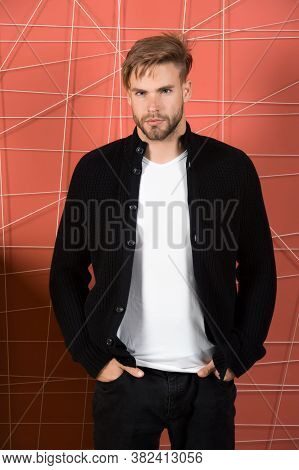 Man Bearded Casual Outfit Put Hands In Pockets. Man Stylish Hair Feels Comfortable Fashionable Casua