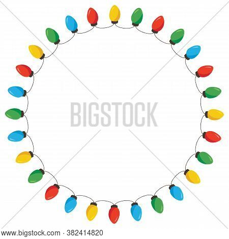 Vector Retro Colorful Holiday Christmas And New Year String Lights Isolated Round Frame On White Bac