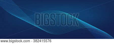 Blue Wave Background. Abstract Curve Line. Technology Vector. Colorful Shiny Wave With Lines Pattern