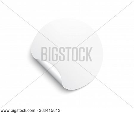 Circle Adhesive Symbol. Paper Round Sticker With Peeling Corner. White Tag, Rounded Mockup Sticker S