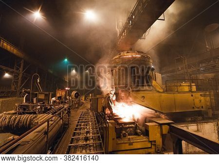 Steel Production In Electric Furnaces, Hot Billet Bloom Continuous Casting, Also Called Strand Casti