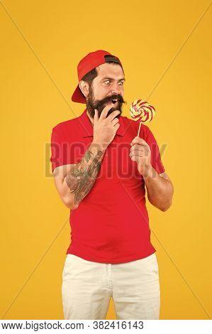 Wow. Sweet Boy. Taste Of Childhood. Happy Eating Sweets. Man Eat Lollipop. Holiday Concept. Sugar Ha