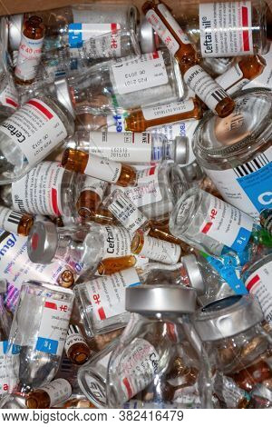 Romania, Bucharest, 1.10.2012, Lots of bottles and ampules medical waste at the hospital