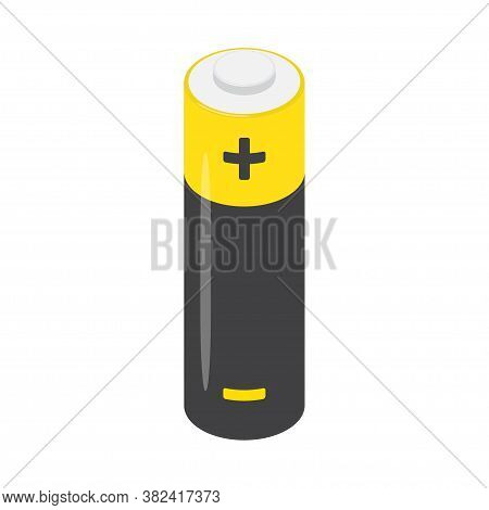 Aa Alkaline Battery Isolated On A White Background. Isometric Perspective View. Vector Illustration.