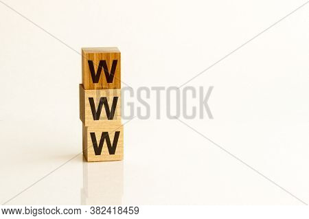 Www Text On Wooden Cubes On White Background