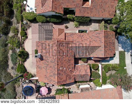 Aerial Top View Of South Californian Residential House In San Diego, Usa. August 22nd, 2020