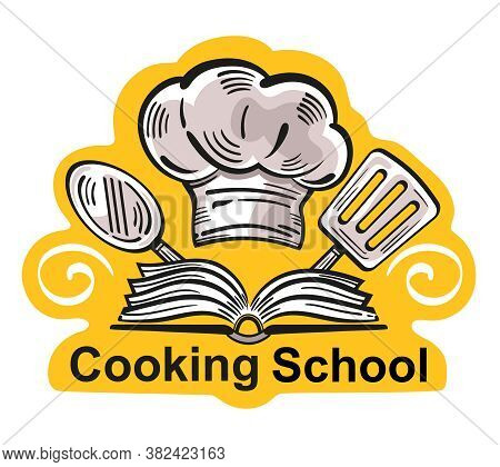 Cooking School Design Logo. Food Studio Or Culinary Master Class Icon. Concept Cook Workshop Or Educ