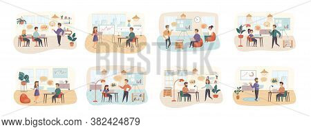 Business Training Bundle Of Scenes With Flat People Characters. Business Instructor Making Presentat