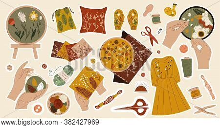 Large Set Of Sewing Or Needlework Stickers With Fabric, Yarns, Dress, Accessories And Bundle Of Colo