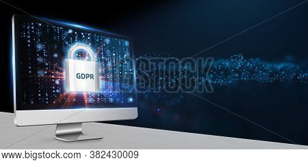 Business, Technology, Internet And Network Concept. Gdpr General Data Protection Regulation.3d Illus