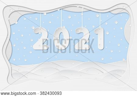 2021 Numbers Hanging On Rope, In Paper Art Cut Style With Winter Landscape, Snowflake, Snowdrift, St
